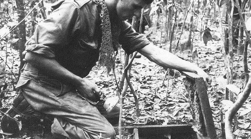 A soldier is kneeling over an open trapdoor on the jungle floor while holding a torch. An Australian sapper inspects a Viet Cong tunnel discovered during Operation Crimp, South Vietnam 1966